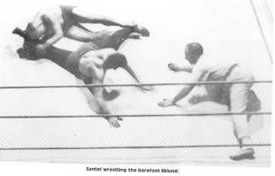 For the remainder of the match Eklund stretched, controlled, and dominated Ad Santel. Here the Octopus applies an old time leg/groin stretch, this hold was a weardown hold very common in matches of th