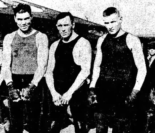 (left to right) Jack Dempsey, Ira Dern, Ed Sheppard-1918. Dern and Sheppard were helping Dempsey train for his bout with Tommy Gibbons.